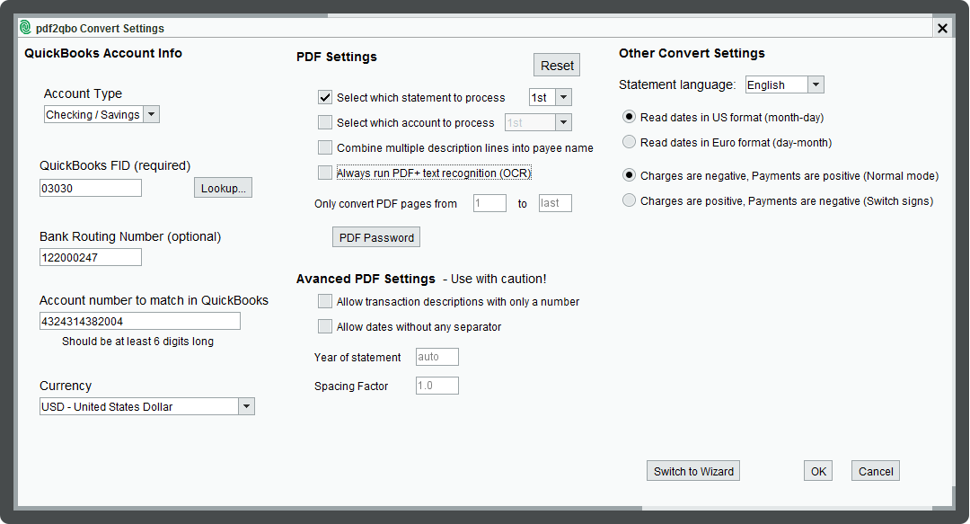 pdf2qbo Convert Settings