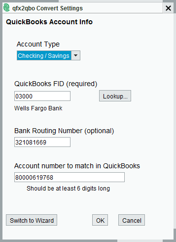 qfx2qbo Convert Settings