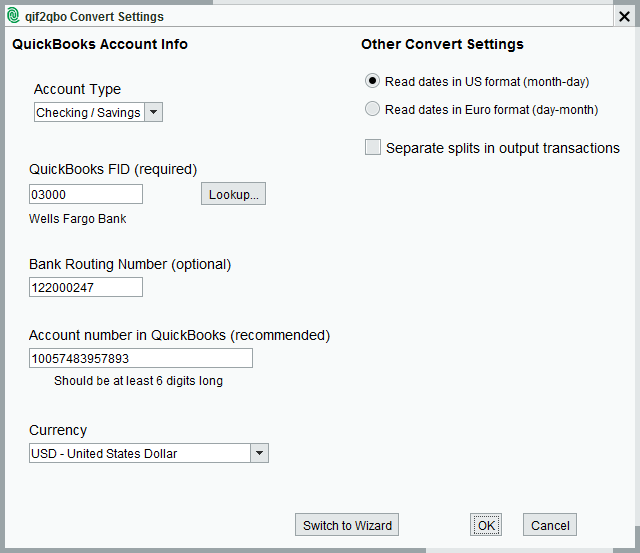 qif2qbo Convert Settings